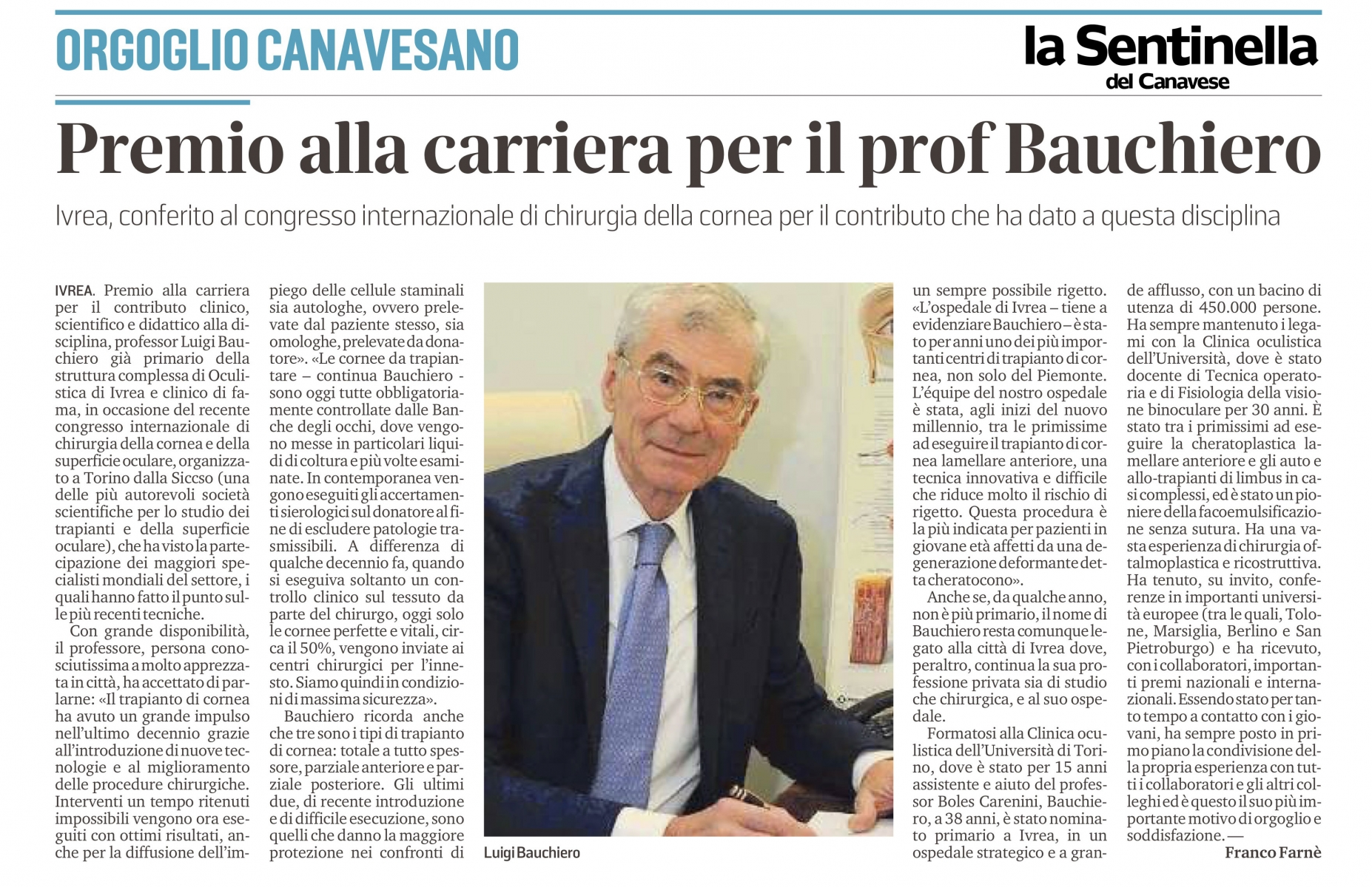 Premio alla carriera per il prof. Bauchiero